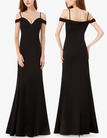 2018 Latest Spaghetti Straps Floor Length Chiffon Black Formal Evening Dress