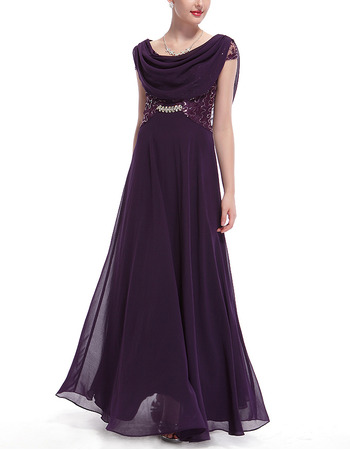 Simple Full Length Chiffon Embroidery Formal Evening Dress with Wraps