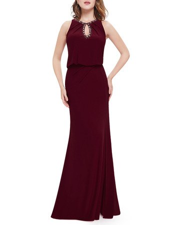 Inexpensive Full Length Chiffon Purple Formal Evening Dress