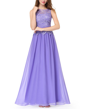 Beautiful Elegant A-Line Full Length Chiffon Formal Evening Dress with Lace Top