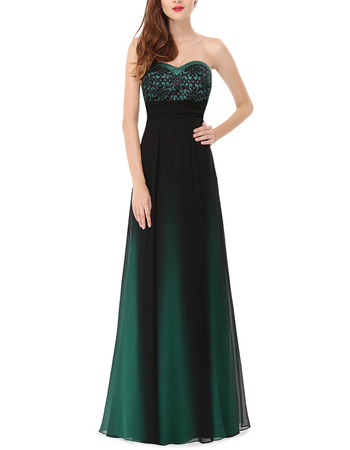 2018 New Simple A-Line Sweetheart Full Length Satin Green Formal Evening Dress