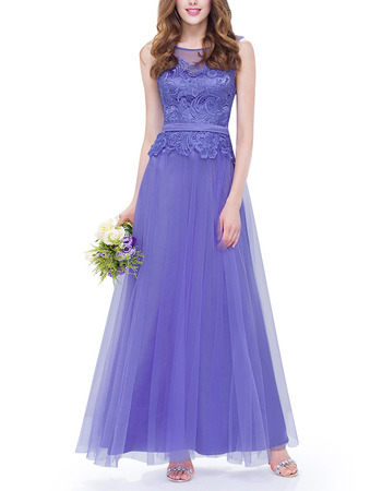 Affordable A-Line Sleeveless Ankle Length Tulle Lace Formal Evening Dress