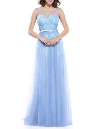 Designer Sleeveless Full Length Taffeta Organza Baby Blue Formal Evening Dress