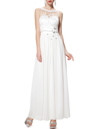2018 Simple Sleeveless Ankle Length White Chiffon Formal Evening Dress