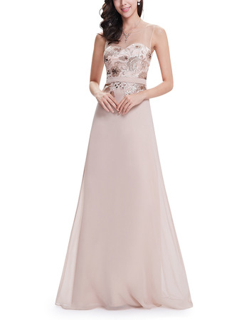 Vintate Full Length Chiffon Embroidery Formal Evening Dress