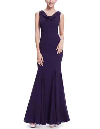 Inexpensive Mermaid FullLength Chiffon Formal Evening Dress