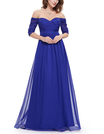 2018 Sexy Off-the-shoulder Long Blue Chiffon Evening Dress with Half Sleeves