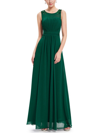 2018 Simple Style Sleeveless Long Green Chiffon Fromal Evening Dress