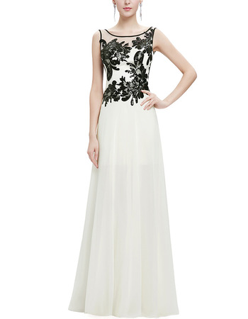 2018 Elegant Long Chiffon Emboidery Formal Evening Dress