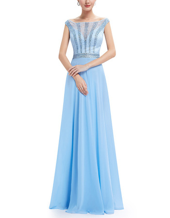 Inexpensive Bateau Floor Length Chiffon Lace Evening/ Prom Dress