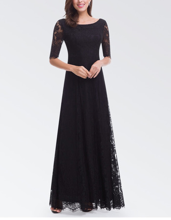 Affordable Long Lace Black Formal Evening Dress with Half Sleeves