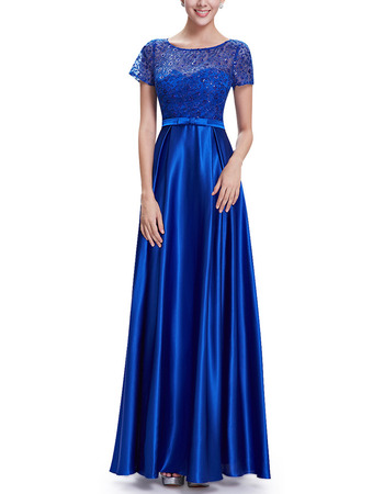 2018 Simple Long Satin Applique Blue Fromal Evening Dress with Short Sleeves