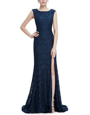 Women Fashion Sheath Sleeveless Sweep Train Lace Slit Prom Evening Dress
