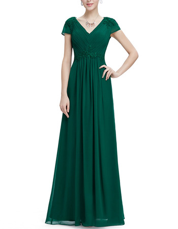 Inexpensive V-Neck Long Chiffon Formal Evening Dress with Short Sleeves