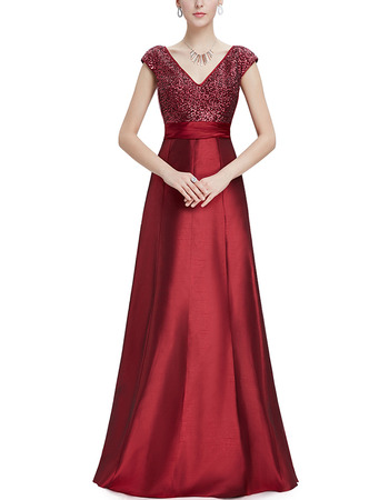 Elegant V-Neck Long Sequin Formal Evening Dress with Cap Sleeves