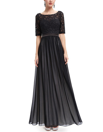 Simple Long Chiffon Lace Black Formal Evening Dress with Half Sleeves