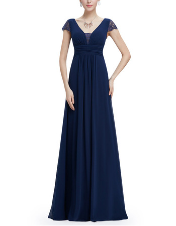 Inexpensive V-Neck Long Chiffon Formal Evening Dress with Cap Sleeves