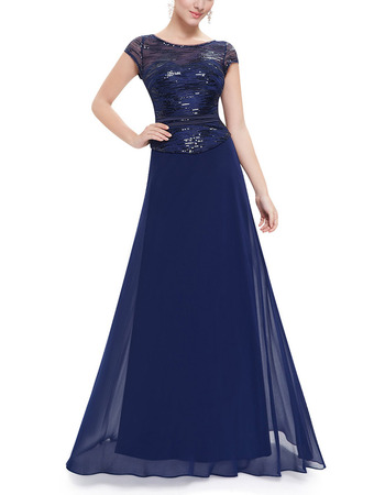 Elegant Long Two-Piece Formal Evening Dress with Cap Sleeves