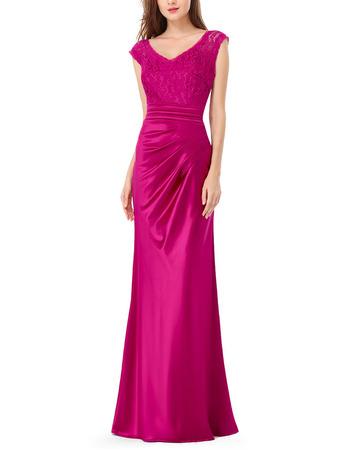 Elegant Sheath V-Neck Long Satin Lace Formal Evening Dress