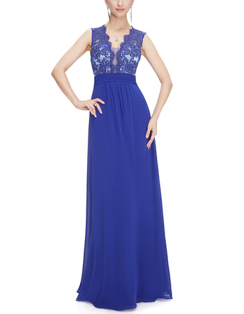 Affordable V-Neck Long Chiffon Tulle Applique Formal Evening Dress