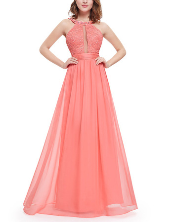 Sexy Sleeveless Long Chiffon Formal Evening/ Prom Dress with Straps