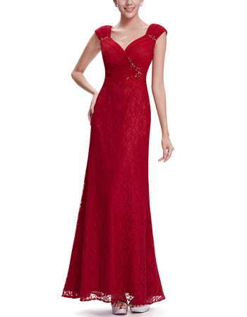 2018 Women Simple Sweetheart Straps Long Lace Red Evening Wear Dress