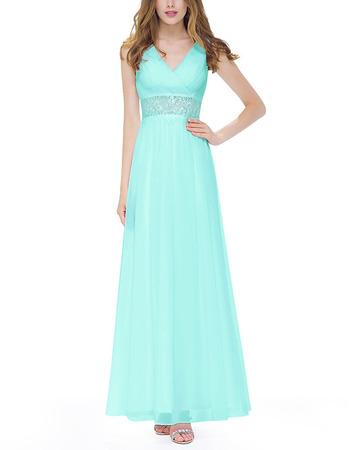 Simple V-Neck Sleeveless Long Chiffon Formal Evening Wear Dress