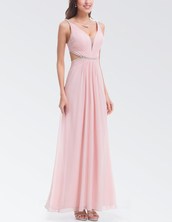 Sexy Long Chiffon Backless Formal Evening Dress with Straps