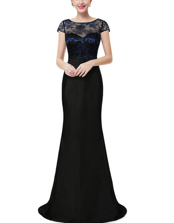 Sexy Long Lace Chiffon Black Prom Evening Dress with Short Sleeves
