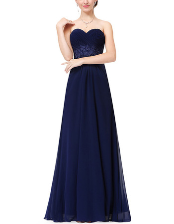 2018 Simple Spring Sweetheart Long Chiffon Evening Party Dress