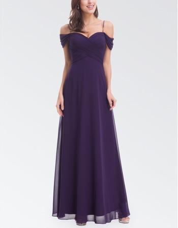 Custom Off-the-shoulder Chiffon Evening Dress with Spaghetti Straps