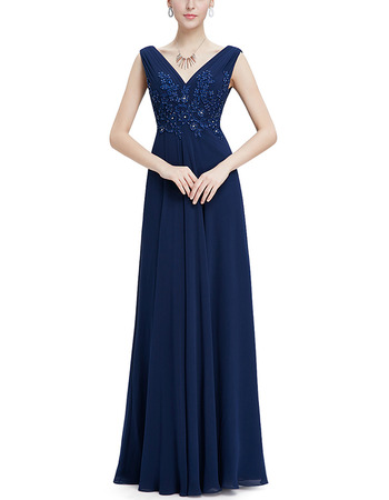 Formal V-Neck Sleeveless Floor Length Chiffon Evening Dress