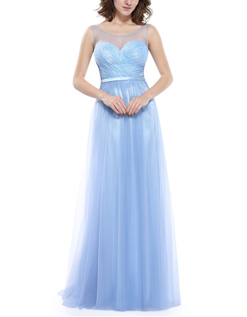 Cheap Simple Sleeveless Long Chiffon Tulle Formal Evening Dress