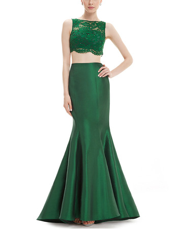Sexy Sheath Long Satin & Lace Two-Piece Formal Evening Dress