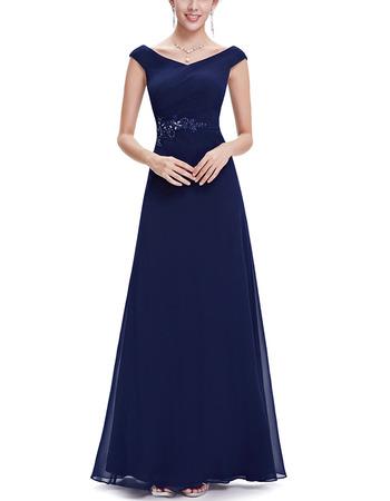 2018 Latest Style V-Neck Long Chiffon Evening Party Dress