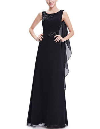 Cheap Sleeveless Long Chiffon Black Formal Prom Evening Dress