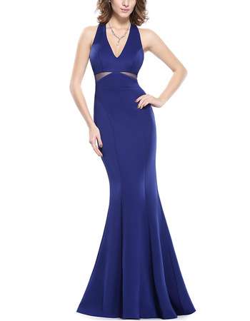Affordable Mermaid V-Neck Floor Length Satin Evening/ Prom Dress
