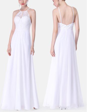 Elegant Spaghetti Straps Floor Length Lace & Chiffon Evening Dress