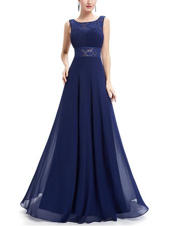 2018 Simple Style Sleeveless Long Chiffon Formal Evening Dress