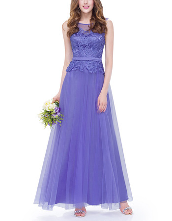 Affordable A-Line Long Tulle & Lace Two-Piece Formal Evening Dress
