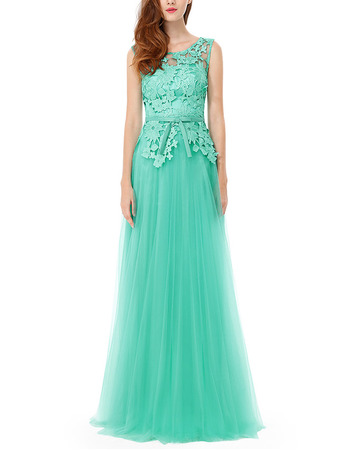Inexpensive Sleeveless Floor Length Tulle & Lace Evening Party Dress