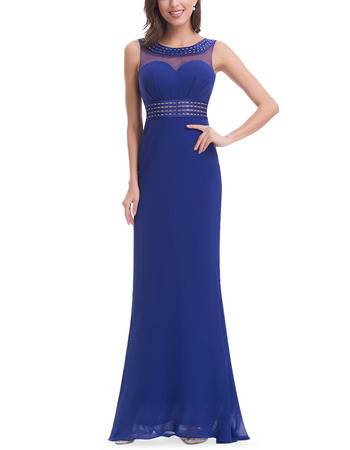 Elegant Sheath Sleeveless Long Chiffon Blue Formal Evening Dress