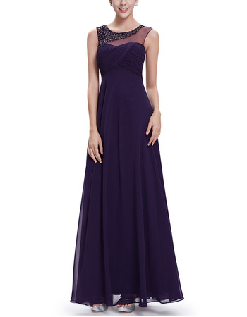 2018 New Fashin Style Sleeveless Long Chiffon Purple Formal Evening Dress