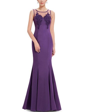 Inexpensive Mermaid Sleeveless Floor Length Satin Formal Evening Dress
