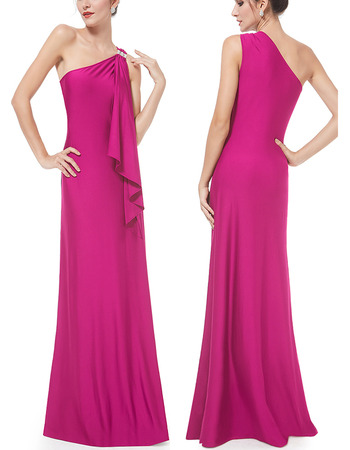 Sexy One Shoulder Sleeveless Long Satin Formal Evening Wear Dress