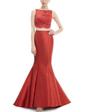 Latest Mermaid Sleeveless Long Satin Lace Two-Piece Formal Evening Party Dress