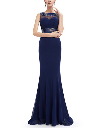 Elegant Sheath Sleeveless Long Chiffon Formal Evening Dress