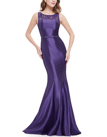 Inexpensive Sheath Sleeveless Long Satin Black/ Purple Formal Evening Dress