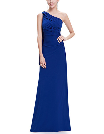 Elegant One Shoulder Sleeveless Long Chiffon Formal Evening Party Dress
