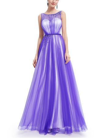 2018 New Style Charming Sleeveless Long Satin Tulle Formal Evening Party Dress